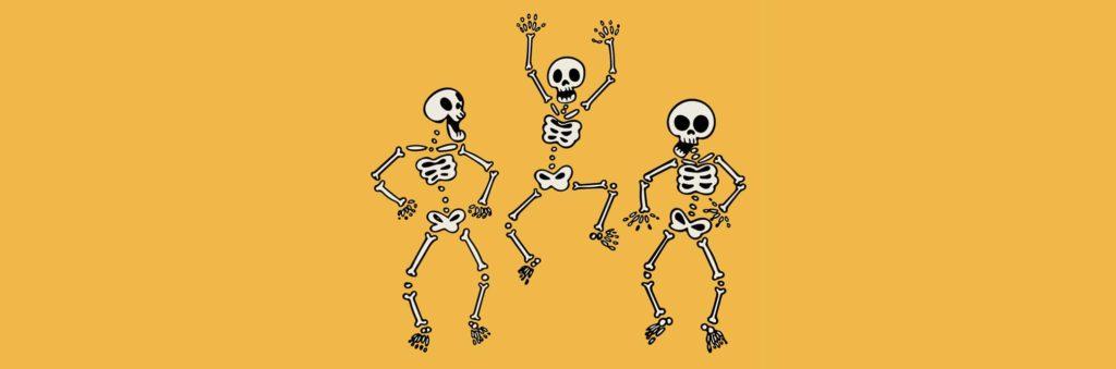 Funny hand drawn human skeletons